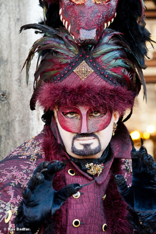 Person in Venetian costume during Venice Carnival